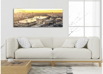 London Eye Skyline Sunset Canvas Wall Art - Landscape - Print
