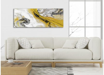 Mustard Yellow and Grey Swirl Bedroom Canvas Wall Art Accessories - Abstract Print