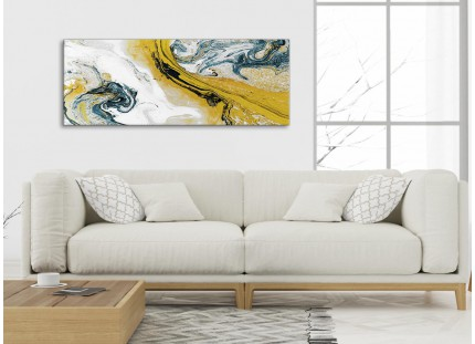 Mustard Yellow and Teal Swirl Bedroom Canvas Pictures Accessories - Abstract Print