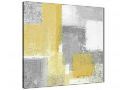 Mustard Yellow Grey Abstract Office Canvas Pictures Accessories 1s367l - 79cm Square Print
