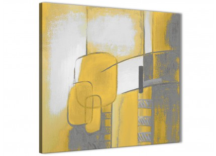 Mustard Yellow Grey Painting Abstract Bedroom Canvas Wall Art Accessories 1s419l - 79cm Square Print