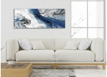 Blue and Grey Swirl Living Room Canvas Wall Art Accessories - Abstract Print