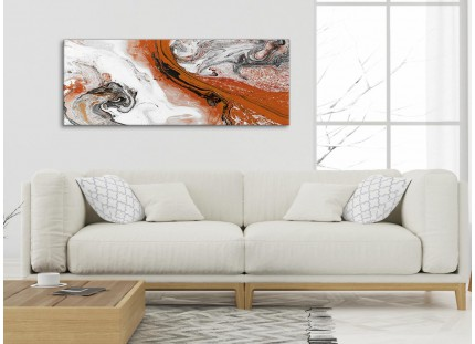 Orange and Grey Swirl Living Room Canvas Wall Art Accessories - Abstract Print
