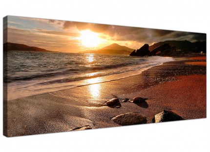 Large Sunset Beach Scene Golden Brown Landscape Modern Canvas Art - 120cm - 1131