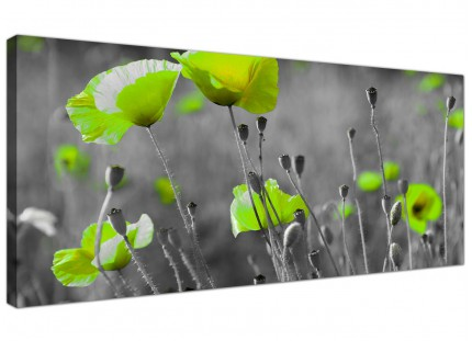 Large Lime Green Poppies Flower Grey Black Floral Canvas Art - 120cm - 1138