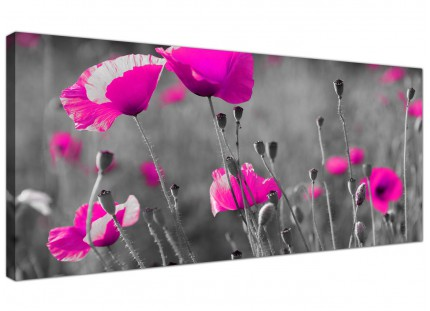 Large Pink Poppy Black Grey Flower Poppies Floral Canvas Art - 120cm - 1137