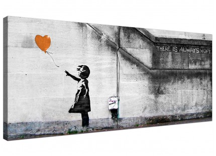 Large Banksy Balloon Girl Orange Heart Hope Modern Canvas Art - 120cm - 1225