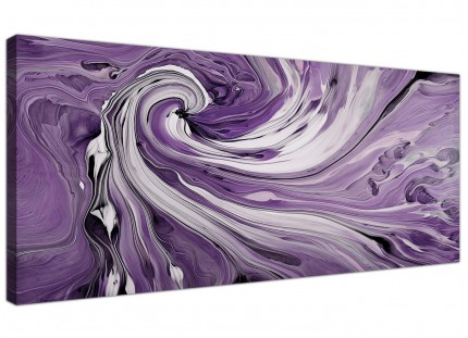 Purple and White Spiral Swirl - Modern Abstract Canvas - 120cm Wide