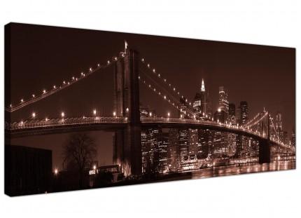 Large Brown Brooklyn Bridge New York Skyline City Canvas Art - 120cm - 1122
