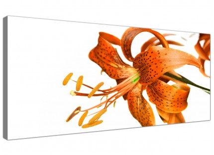 Large Orange White Tiger Lily Flower Floral Modern Canvas Art - 120cm - 1142