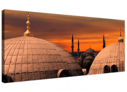 Large Istanbul Skyline - Blue Mosque Sunset City Canvas Art - 120cm - 1192