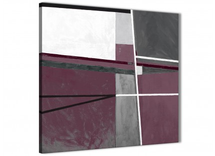 Plum Purple Grey Painting Abstract Office Canvas Pictures Accessories 1s391l - 79cm Square Print