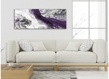 Purple and Grey Swirl Living Room Canvas Wall Art Accessories - Abstract Print