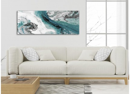 Teal and Grey Swirl Living Room Canvas Wall Art Accessories - Abstract Print