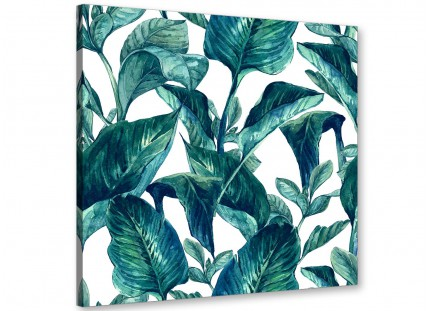 Teal Blue Green Tropical Exotic Leaves Canvas Wall Art Print - Modern 64cm Square - 1s325m
