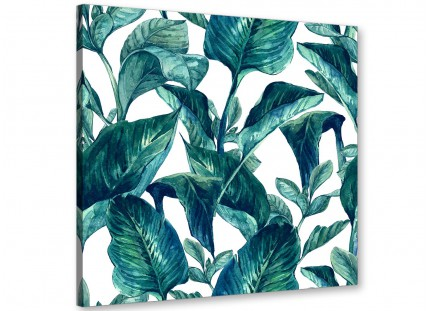 Teal Blue Green Tropical Exotic Leaves Canvas Wall Art Print - Modern 79cm Square - 1s325l