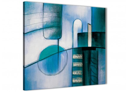 Teal Cream Painting Abstract Bedroom Canvas Wall Art Decorations 1s417l - 79cm Square Print