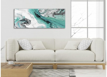 Turquoise and Grey Swirl Living Room Canvas Wall Art Accessories - Abstract Print