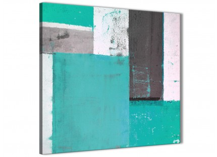 Turquoise Grey Abstract Painting Canvas Wall Art Modern 49cm Square - 1s345s