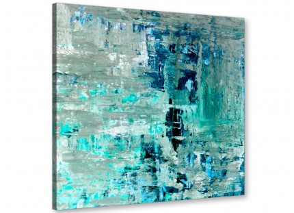 Turquoise Teal Abstract Painting Wall Art Print Canvas - Modern 49cm Square - 1s333s