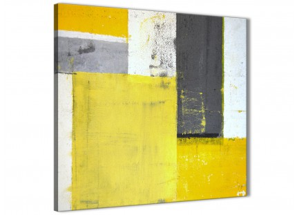 Yellow Grey Abstract Painting Canvas Wall Art Picture - Modern 79cm Square - 1s346l