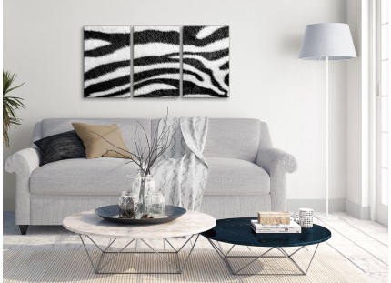Black White Zebra Animal Print Bedroom Canvas Wall Art Accessories - Abstract Print