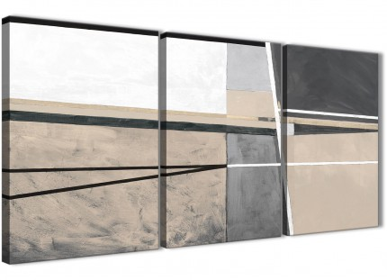 3 Piece Beige Cream Grey Painting Kitchen Canvas Wall Art Decor - Abstract 3394 - 126cm Set of Prints