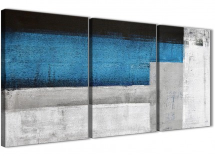 3 Panel Blue Grey Painting Living Room Canvas Wall Art Accessories - Abstract 3423 - 126cm Set of Prints