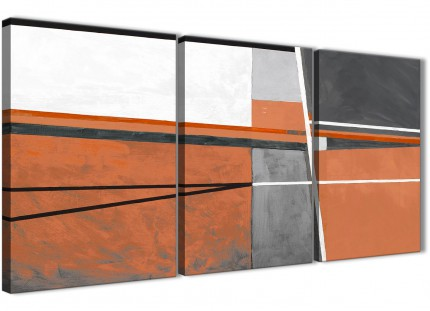 3 Piece Burnt Orange Grey Painting Kitchen Canvas Pictures Accessories - Abstract 3390 - 126cm Set of Prints