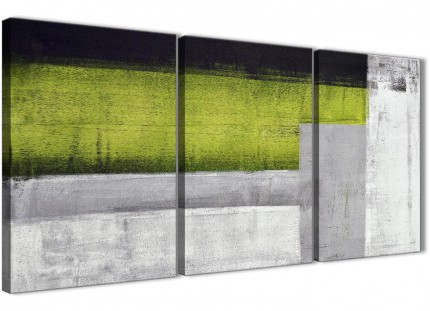 3 Piece Lime Green Grey Painting Office Canvas Pictures Decor - Abstract 3424 - 126cm Set of Prints