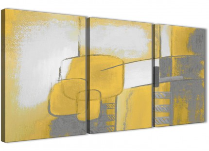 3 Piece Mustard Yellow Grey Painting Kitchen Canvas Wall Art Decor - Abstract 3419 - 126cm Set of Prints