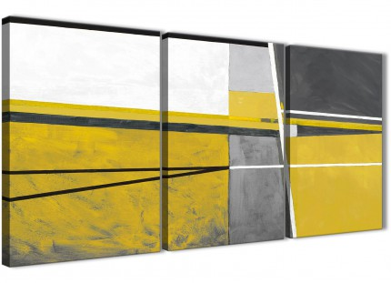 3 Piece Mustard Yellow Grey Painting Dining Room Canvas Wall Art Decor - Abstract 3388 - 126cm Set of Prints