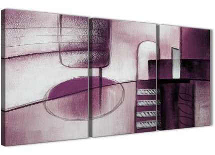 3 Piece Plum Grey Painting Kitchen Canvas Pictures Accessories - Abstract 3420 - 126cm Set of Prints