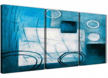 3 Panel Teal White Painting Kitchen Canvas Wall Art Decor - Abstract 3432 - 126cm Set of Prints
