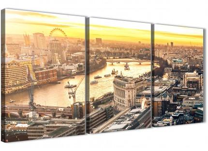 3 Piece Landscape Canvas Wall Art London Eye Skyline Sunset - 3459 - 126cm Set of Prints