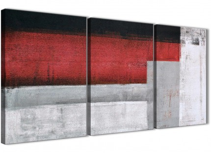 3 Panel Red Grey Painting Living Room Canvas Pictures Decor - Abstract 3428 - 126cm Set of Prints
