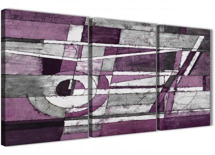 3 Piece Aubergine Grey White Painting Kitchen Canvas Wall Art Accessories - Abstract 3406 - 126cm Set of Prints