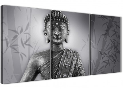 3 Panel Black White Buddha Office Canvas Wall Art Decor - 3373 - 126cm Set of Prints