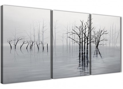 3 Piece Black White Grey Tree Landscape Painting Bedroom Canvas Pictures Decor - 3416 - 126cm Set of Prints