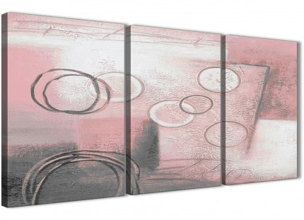 3 Piece Blush Pink Grey Painting Kitchen Canvas Pictures Accessories - Abstract 3433 - 126cm Set of Prints
