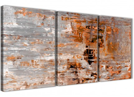 3 Piece Burnt Orange Grey Painting Hallway Canvas Pictures Accessories - Abstract 3415 - 126cm Set of Prints
