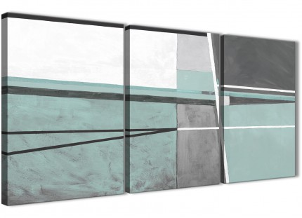 3 Piece Duck Egg Blue Grey Painting Kitchen Canvas Pictures Decor - Abstract 3396 - 126cm Set of Prints