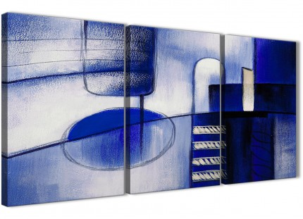 3 Piece Indigo Blue Cream Painting Bedroom Canvas Pictures Decor - Abstract 3418 - 126cm Set of Prints