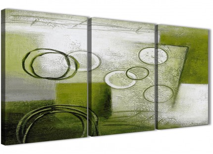 3 Panel Lime Green Painting Dining Room Canvas Wall Art Decor - Abstract 3434 - 126cm Set of Prints