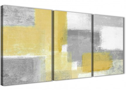 3 Piece Mustard Yellow Grey Dining Room Canvas Wall Art Accessories - Abstract 3367 - 126cm Set of Prints
