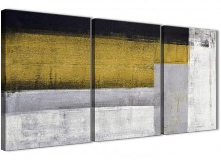 3 Piece Mustard Yellow Grey Painting Dining Room Canvas Wall Art Accessories - Abstract 3425 - 126cm Set of Prints