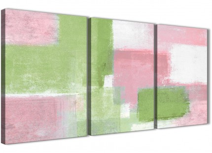 3 Panel Pink Lime Green Hallway Canvas Wall Art Decor - Abstract 3374 - 126cm Set of Prints