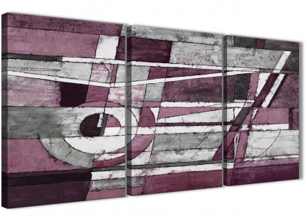 3 Piece Plum Grey White Painting Bedroom Canvas Wall Art Accessories - Abstract 3408 - 126cm Set of Prints