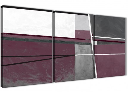 3 Piece Plum Purple Grey Painting Kitchen Canvas Pictures Accessories - Abstract 3391 - 126cm Set of Prints
