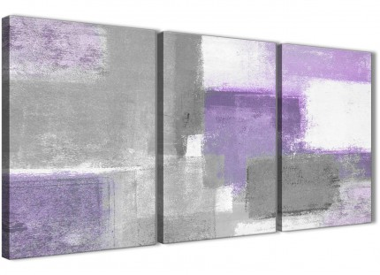 3 Piece Purple Grey Painting Living Room Canvas Wall Art Accessories - Abstract 3376 - 126cm Set of Prints